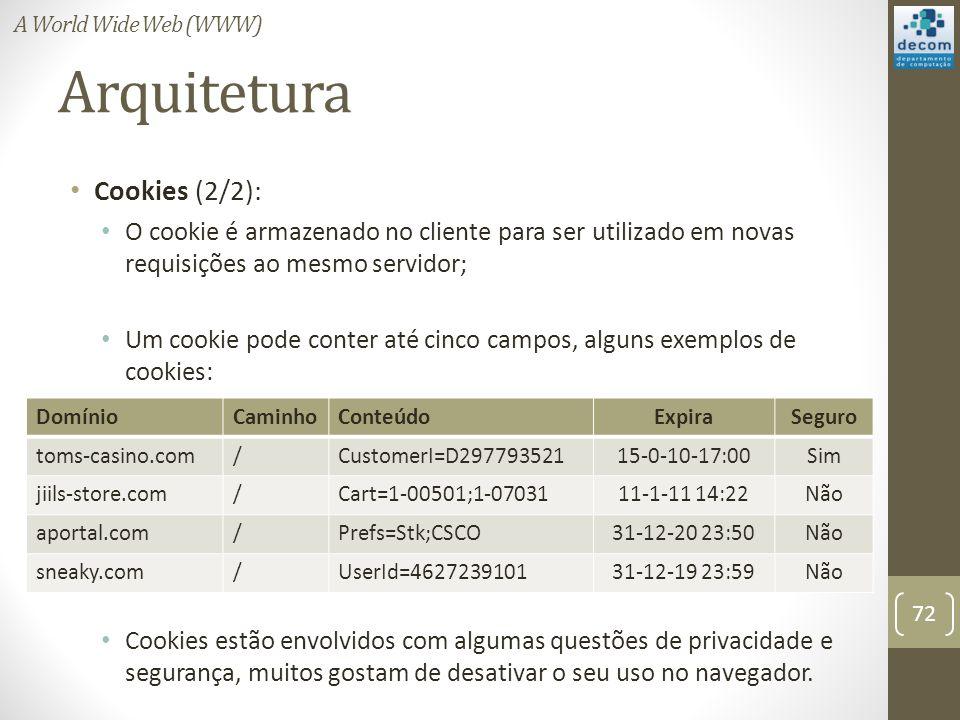 Arquitetura Cookies (2/2): O cookie é armazenado no cliente para ser utilizado em novas requisições ao mesmo servidor; Um cookie pode conter até cinco campos, alguns exemplos de cookies: Cookies estão envolvidos com algumas questões de privacidade e segurança, muitos gostam de desativar o seu uso no navegador.