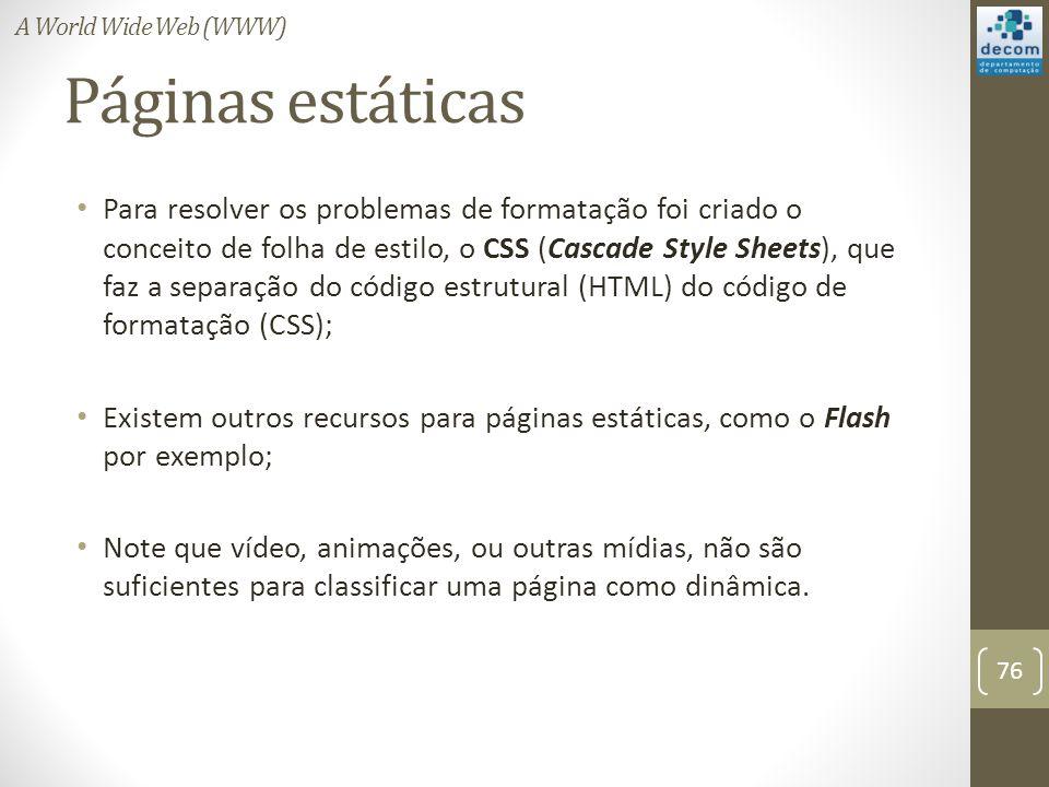 Páginas estáticas Para resolver os problemas de formatação foi criado o conceito de folha de estilo, o CSS (Cascade Style Sheets), que faz a separação do código estrutural (HTML) do código de formatação (CSS); Existem outros recursos para páginas estáticas, como o Flash por exemplo; Note que vídeo, animações, ou outras mídias, não são suficientes para classificar uma página como dinâmica.