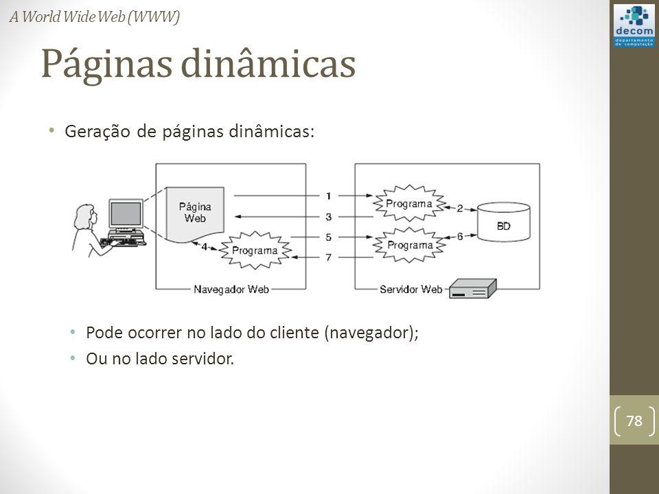 Páginas dinâmicas Geração de páginas dinâmicas: Pode ocorrer no lado do cliente (navegador); Ou no lado servidor.