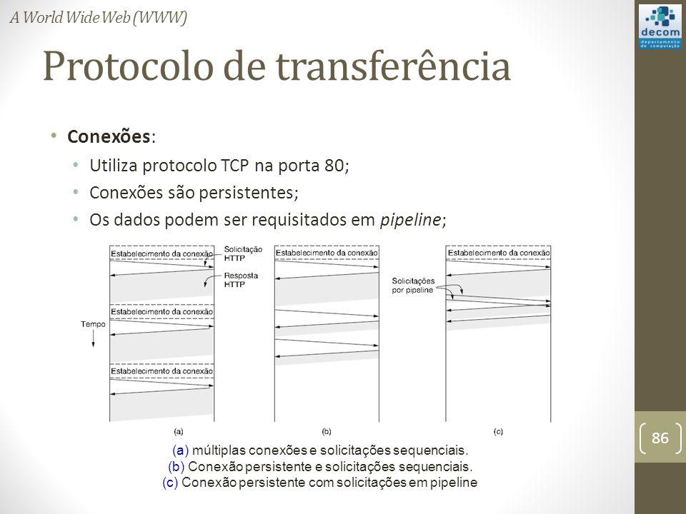 Protocolo de transferência Conexões: Utiliza protocolo TCP na porta 80; Conexões são persistentes; Os dados podem ser requisitados em pipeline; (a) múltiplas conexões e solicitações sequenciais.