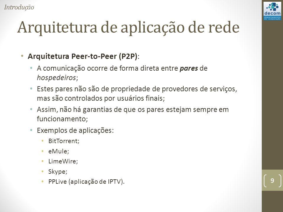 Arquitetura de aplicação de rede Arquitetura Peer-to-Peer (P2P): A comunicação ocorre de forma direta entre pares de hospedeiros; Estes pares não são de propriedade de provedores de serviços, mas são controlados por usuários finais; Assim, não há garantias de que os pares estejam sempre em funcionamento; Exemplos de aplicações: BitTorrent; eMule; LimeWire; Skype; PPLive (aplicação de IPTV).