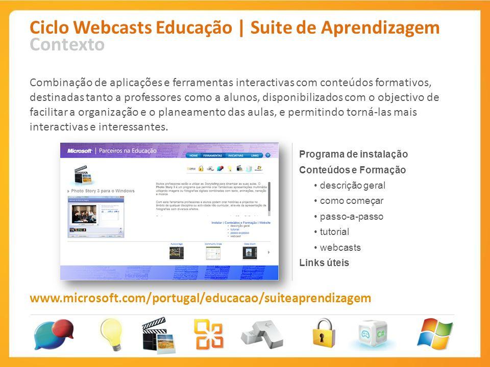 Ciclo Webcasts Educação | Suite de Aprendizagem Contexto Combinação de aplicações e ferramentas interactivas com conteúdos formativos, destinadas tant