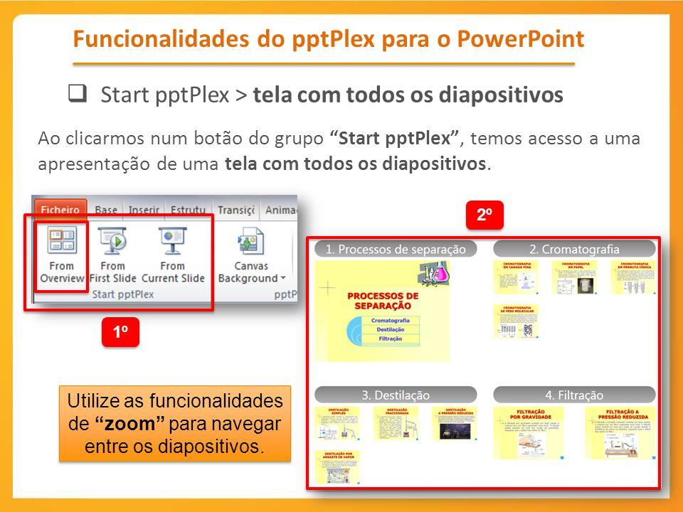 Ao clicarmos num botão do grupo Start pptPlex, temos acesso a uma apresentação de uma tela com todos os diapositivos. Funcionalidades do pptPlex para