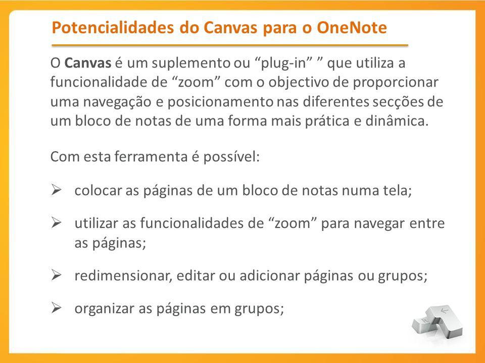 Potencialidades do Canvas para o OneNote O Canvas é um suplemento ou plug-in que utiliza a funcionalidade de zoom com o objectivo de proporcionar uma