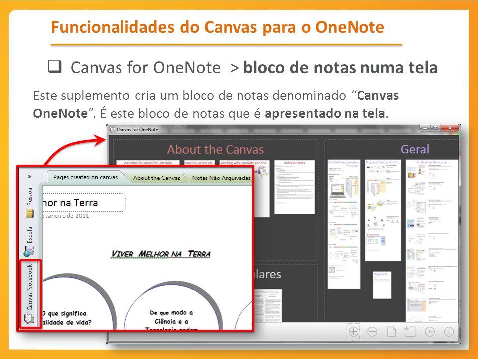 Funcionalidades do Canvas para o OneNote Canvas for OneNote > bloco de notas numa tela Este suplemento cria um bloco de notas denominado Canvas OneNot