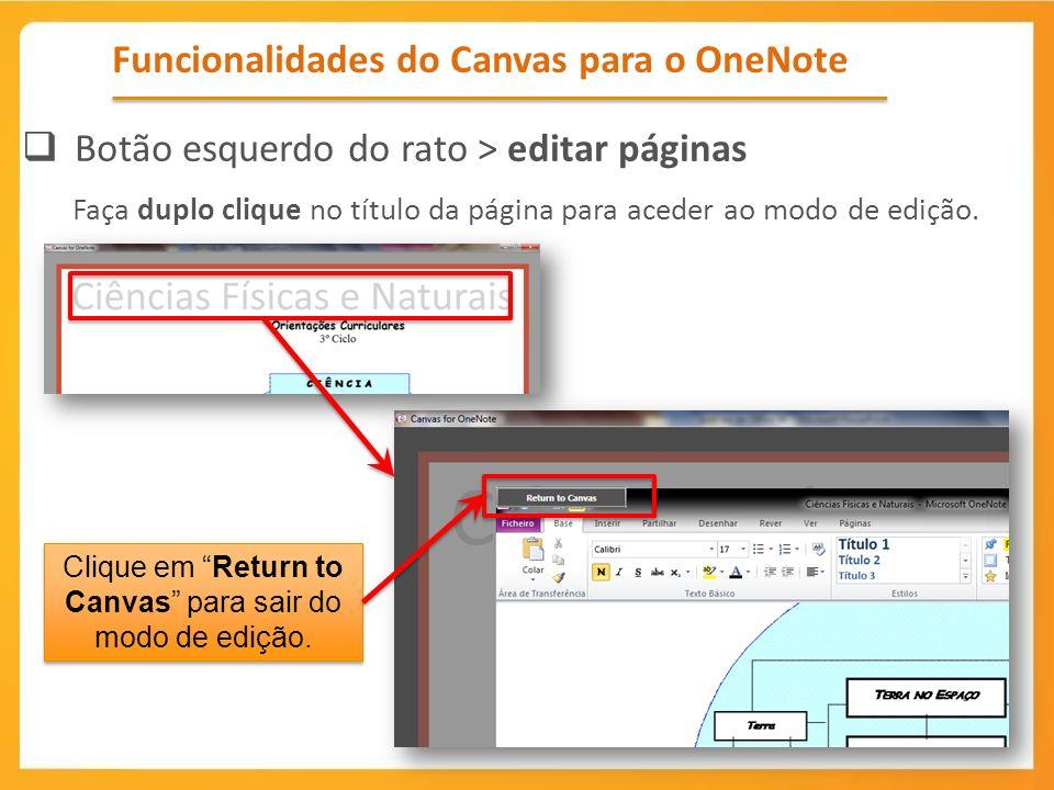 Funcionalidades do Canvas para o OneNote Botão esquerdo do rato > editar páginas Faça duplo clique no título da página para aceder ao modo de edição.