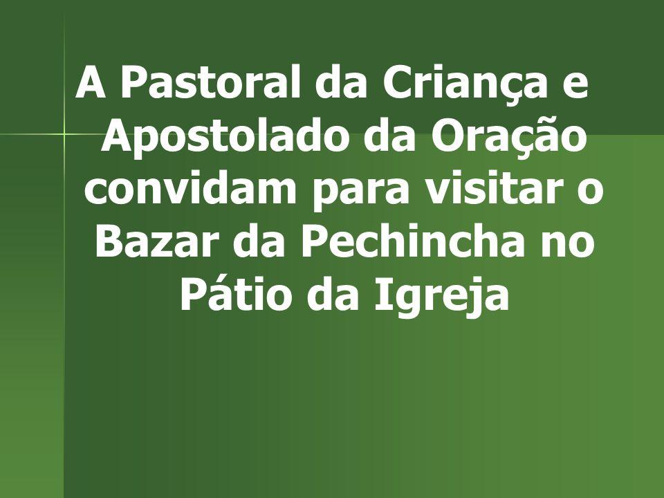A Pastoral da Criança e Apostolado da Oração convidam para visitar o Bazar da Pechincha no Pátio da Igreja