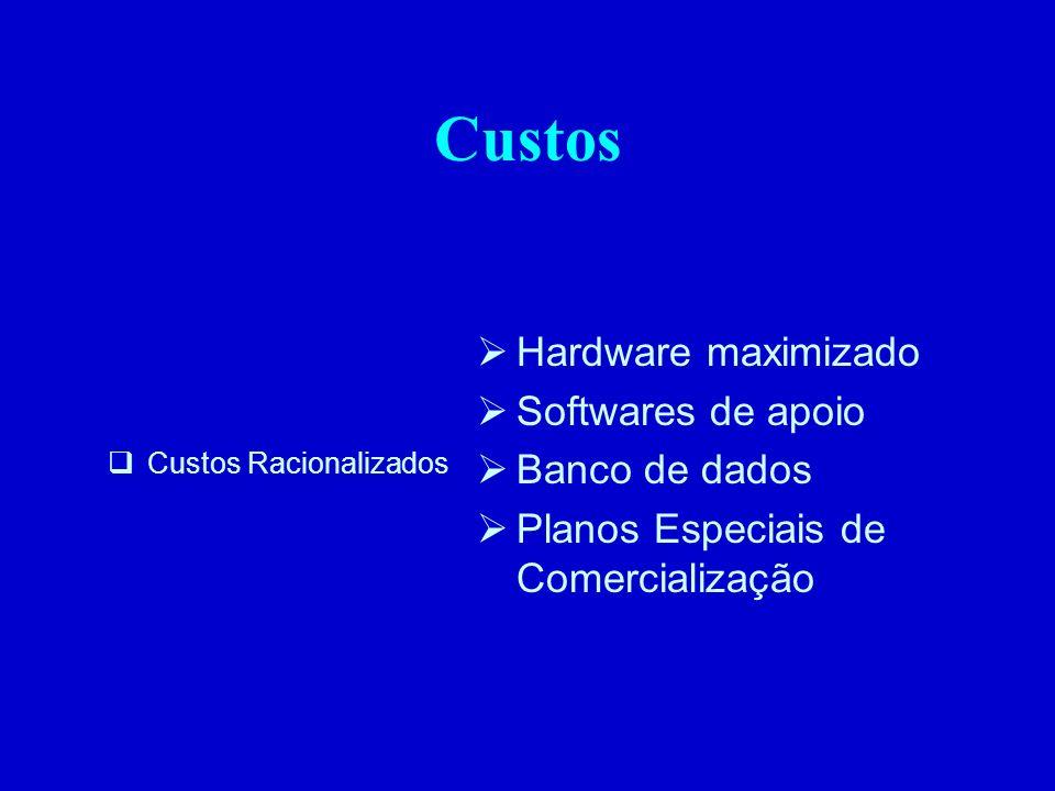 Custos Custos Racionalizados Hardware maximizado Softwares de apoio Banco de dados Planos Especiais de Comercialização