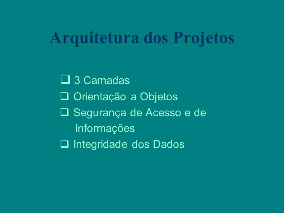 Arquitetura dos Projetos 3 Camadas Orientação a Objetos Segurança de Acesso e de Informações Integridade dos Dados