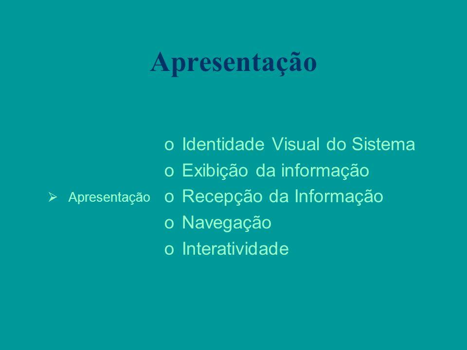 Apresentação oIdentidade Visual do Sistema oExibição da informação oRecepção da Informação oNavegação oInteratividade