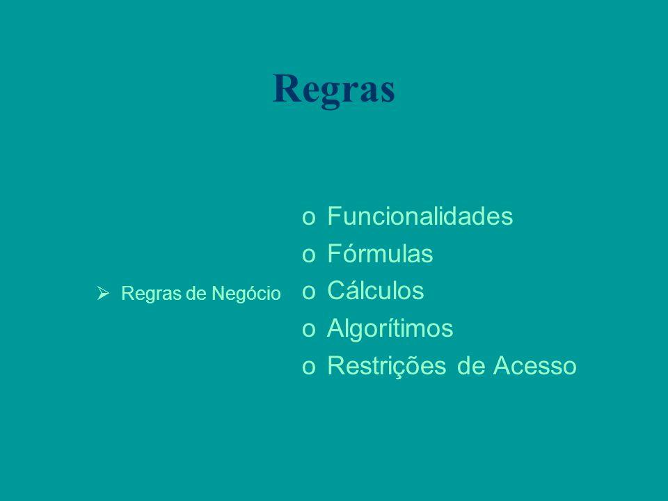 Regras Regras de Negócio oFuncionalidades oFórmulas oCálculos oAlgorítimos oRestrições de Acesso
