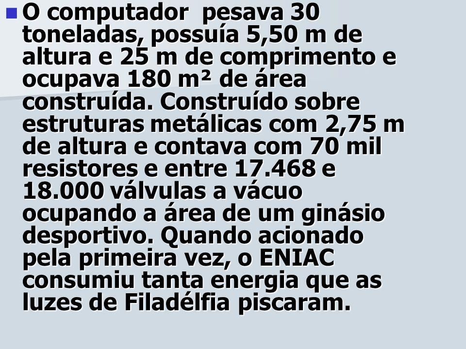 O computador pesava 30 toneladas, possuía 5,50 m de altura e 25 m de comprimento e ocupava 180 m² de área construída. Construído sobre estruturas metá