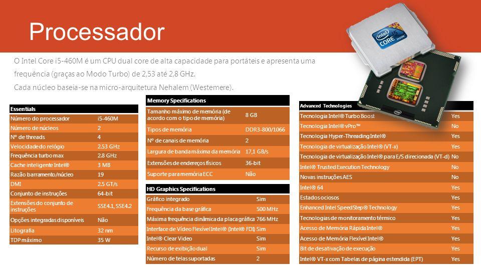 Processador Essentials Número do processadori5-460M Número de núcleos2 Nº de threads4 Velocidade do relógio2.53 GHz Frequência turbo max2.8 GHz Cache