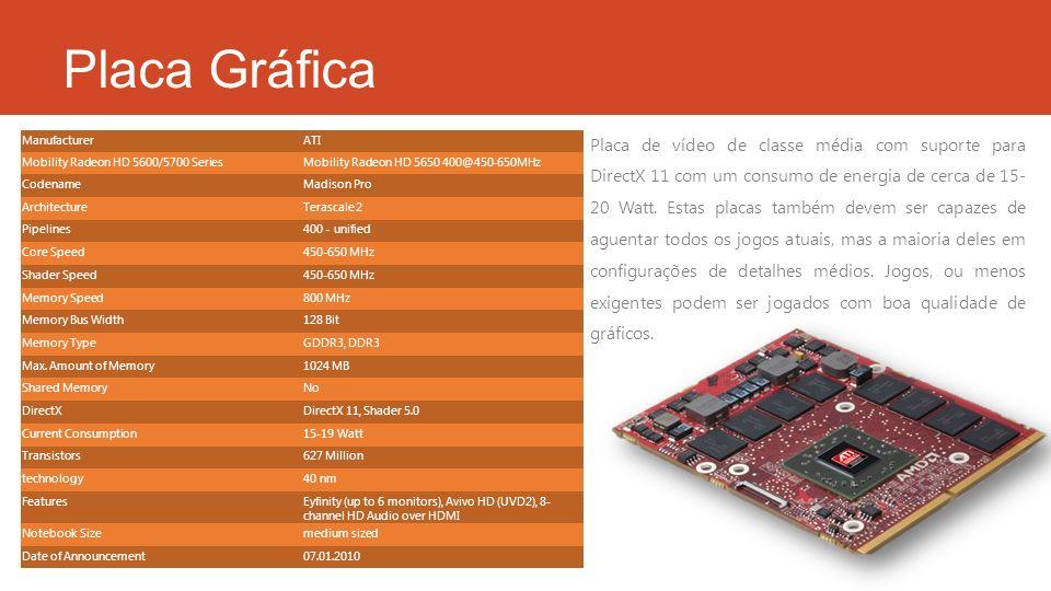 Placa Gráfica ManufacturerATI Mobility Radeon HD 5600/5700 SeriesMobility Radeon HD 5650 400@450-650MHz CodenameMadison Pro ArchitectureTerascale 2 Pi