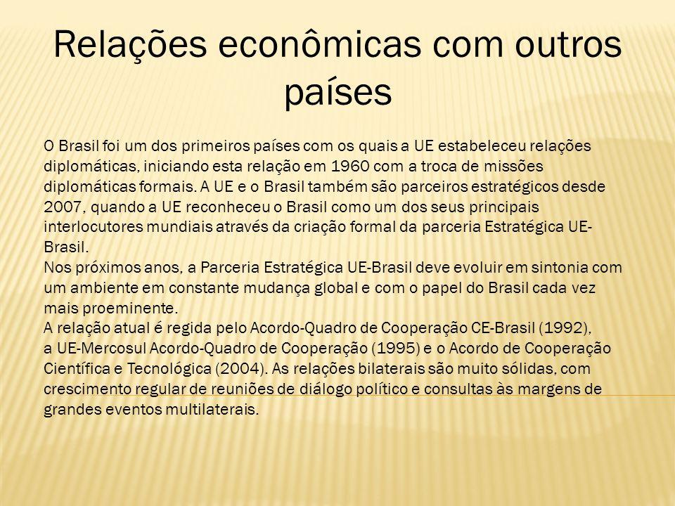 O Brasil foi um dos primeiros países com os quais a UE estabeleceu relações diplomáticas, iniciando esta relação em 1960 com a troca de missões diplom