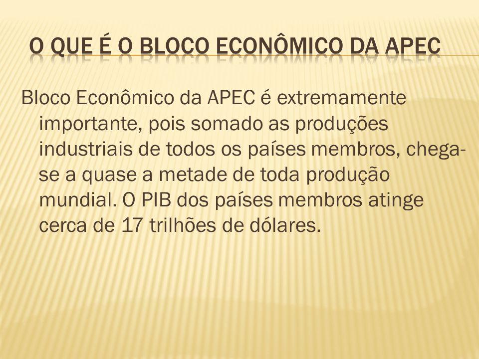 Bloco Econômico da APEC é extremamente importante, pois somado as produções industriais de todos os países membros, chega- se a quase a metade de toda