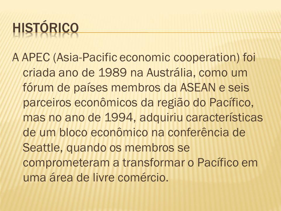 A APEC (Asia-Pacific economic cooperation) foi criada ano de 1989 na Austrália, como um fórum de países membros da ASEAN e seis parceiros econômicos d