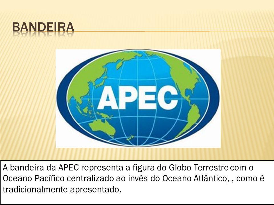 A bandeira da APEC representa a figura do Globo Terrestre com o Oceano Pacífico centralizado ao invés do Oceano Atlântico,, como é tradicionalmente ap