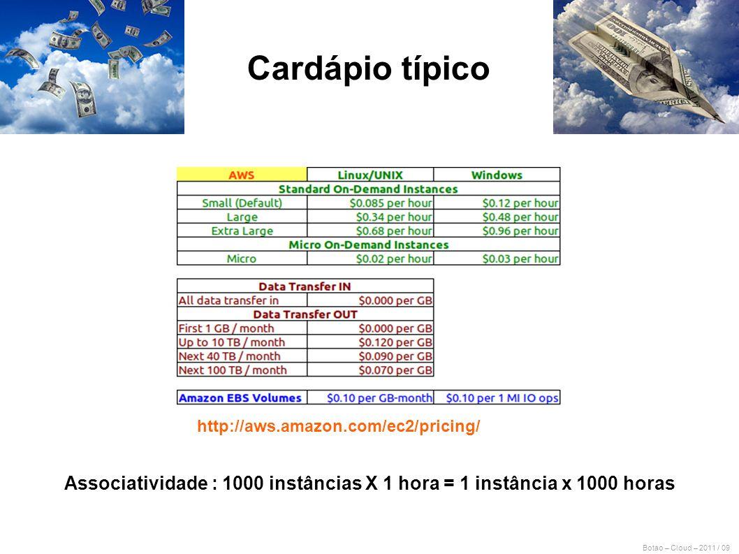 Botao – Cloud – 2011 / 09 http://aws.amazon.com/ec2/pricing/ Cardápio típico Associatividade : 1000 instâncias X 1 hora = 1 instância x 1000 horas