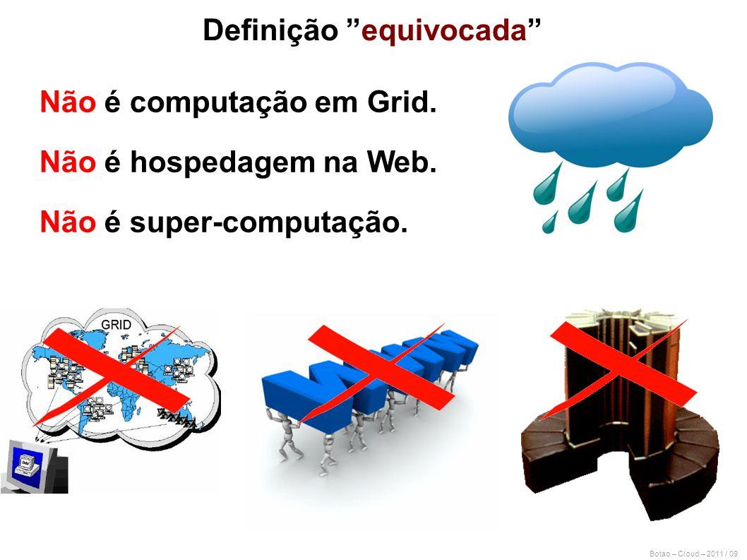 Botao – Cloud – 2011 / 09 Não é computação em Grid. Não é hospedagem na Web. Não é super-computação. Definição equivocada