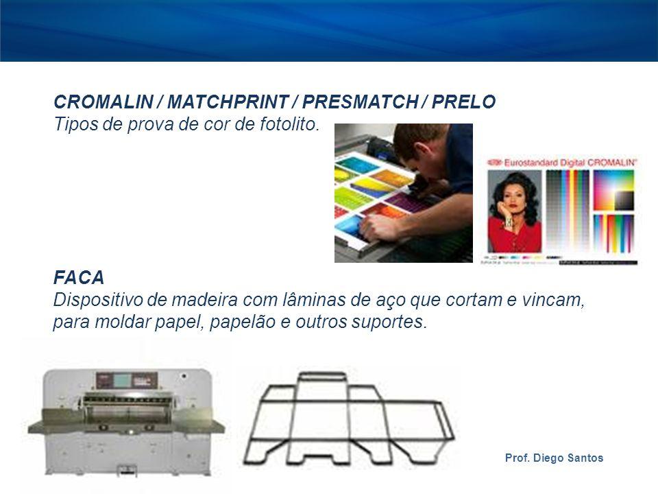 CROMALIN / MATCHPRINT / PRESMATCH / PRELO Tipos de prova de cor de fotolito.