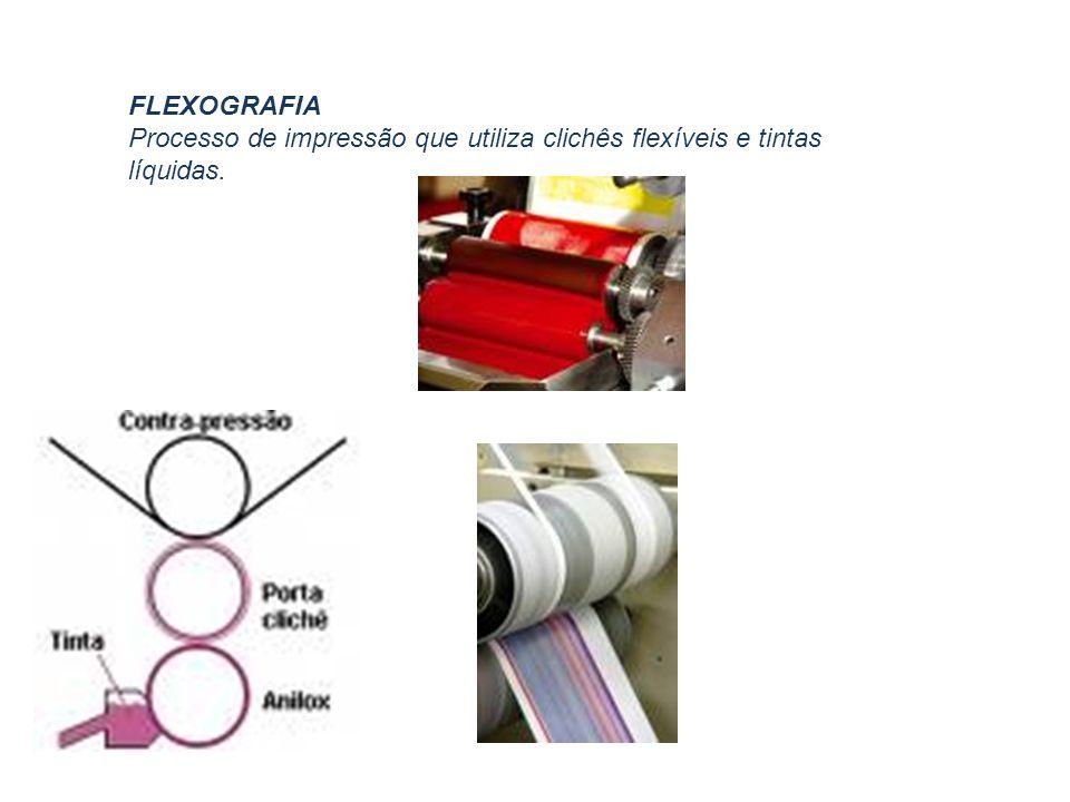 FLEXOGRAFIA Processo de impressão que utiliza clichês flexíveis e tintas líquidas.