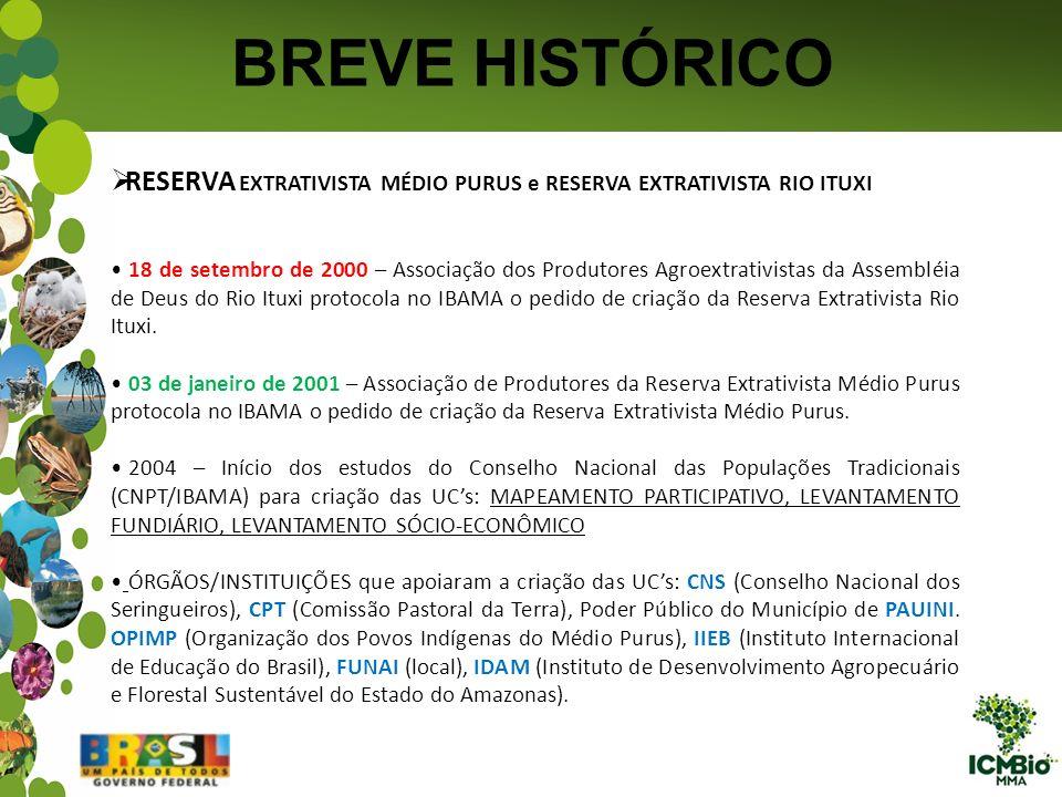 BREVE HISTÓRICO RESERVA EXTRATIVISTA MÉDIO PURUS e RESERVA EXTRATIVISTA RIO ITUXI 18 de setembro de 2000 – Associação dos Produtores Agroextrativistas