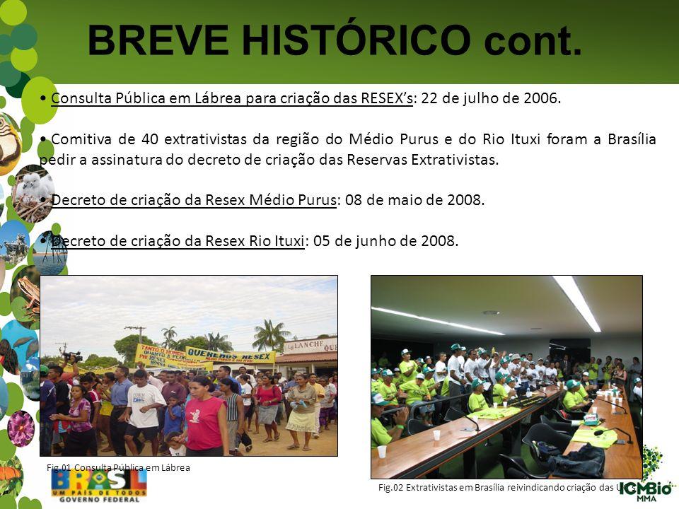 BREVE HISTÓRICO cont. Consulta Pública em Lábrea para criação das RESEXs: 22 de julho de 2006. Comitiva de 40 extrativistas da região do Médio Purus e