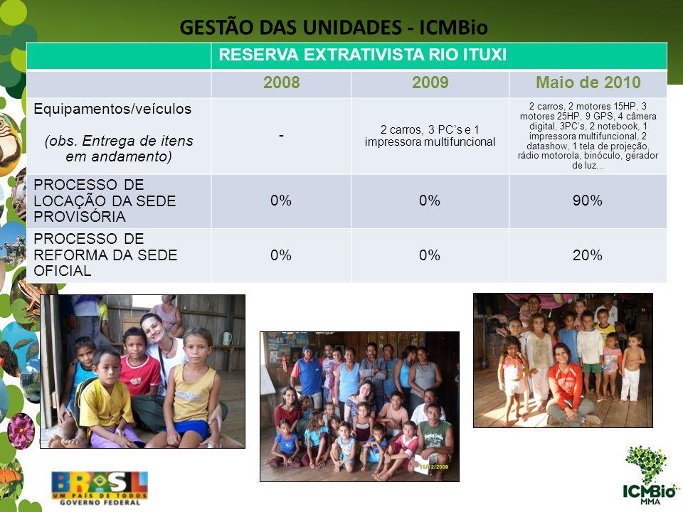 GESTÃO DAS UNIDADES - ICMBio RESERVA EXTRATIVISTA RIO ITUXI 20082009Maio de 2010 Equipamentos/veículos (obs. Entrega de itens em andamento) - 2 carros