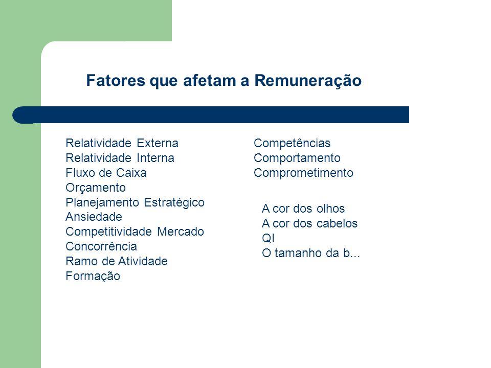 Fatores que afetam a Remuneração Relatividade Externa Relatividade Interna Fluxo de Caixa Orçamento Planejamento Estratégico Ansiedade Competitividade