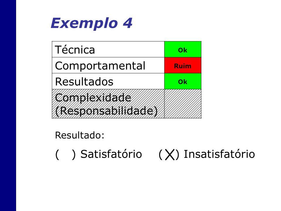 Técnica Ok Comportamental Ruim Resultados Ok Complexidade (Responsabilidade) Exemplo 4 Resultado: ( ) Satisfatório ( ) Insatisfatório