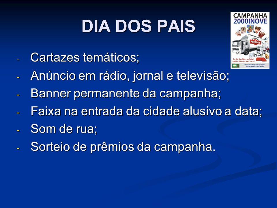 DIA DOS PAIS - Cartazes temáticos; - Anúncio em rádio, jornal e televisão; - Banner permanente da campanha; - Faixa na entrada da cidade alusivo a data; - Som de rua; - Sorteio de prêmios da campanha.