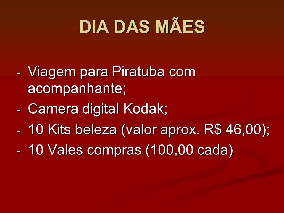 DIA DAS MÃES - Viagem para Piratuba com acompanhante; - Camera digital Kodak; - 10 Kits beleza (valor aprox.