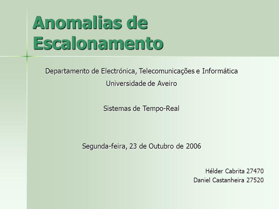 Anomalias de Escalonamento Hélder Cabrita 27470 Daniel Castanheira 27520 Departamento de Electrónica, Telecomunicações e Informática Universidade de A