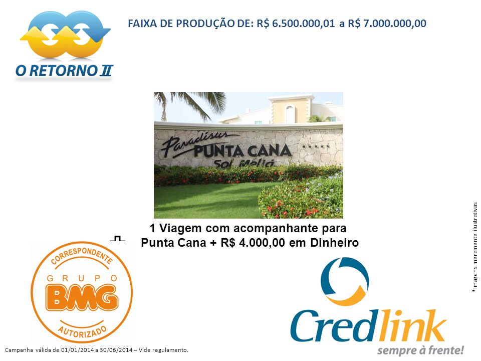 FAIXA DE PRODUÇÃO DE: R$ 6.500.000,01 a R$ 7.000.000,00 *Imagens meramente ilustrativas Campanha válida de 01/01/2014 a 30/06/2014 – Vide regulamento.