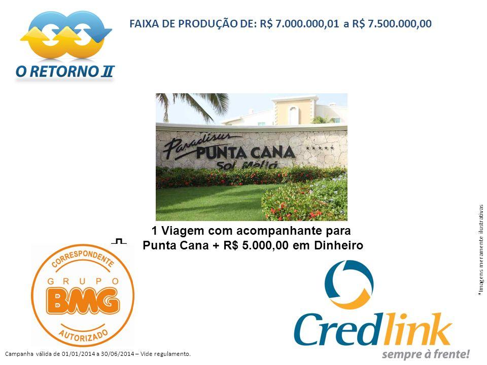 FAIXA DE PRODUÇÃO DE: R$ 7.000.000,01 a R$ 7.500.000,00 *Imagens meramente ilustrativas Campanha válida de 01/01/2014 a 30/06/2014 – Vide regulamento.