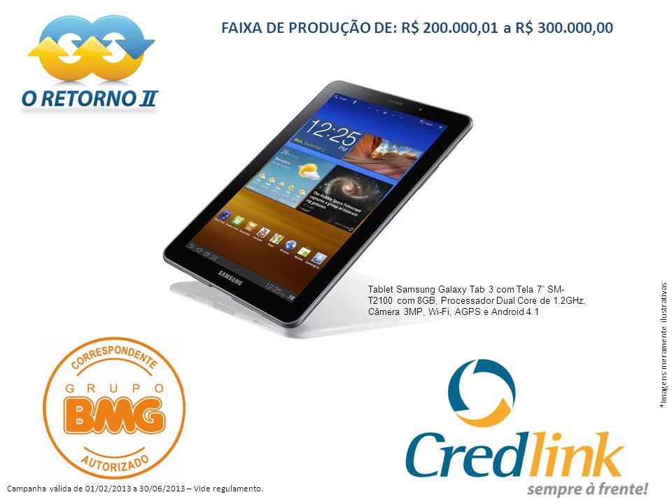 FAIXA DE PRODUÇÃO DE: R$ 200.000,01 a R$ 300.000,00 Tablet Samsung Galaxy Tab 3 com Tela 7 SM- T2100 com 8GB, Processador Dual Core de 1.2GHz, Câmera 3MP, Wi-Fi, AGPS e Android 4.1 *Imagens meramente ilustrativas Campanha válida de 01/02/2013 a 30/06/2013 – Vide regulamento.