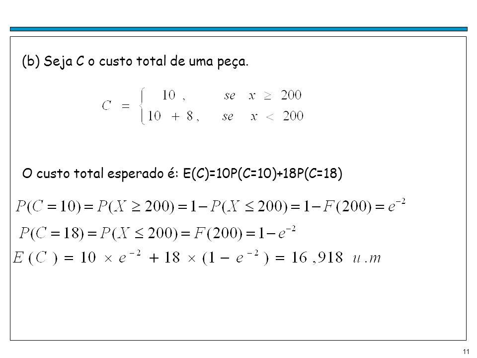 11 (b) Seja C o custo total de uma peça. O custo total esperado é: E(C)=10P(C=10)+18P(C=18)