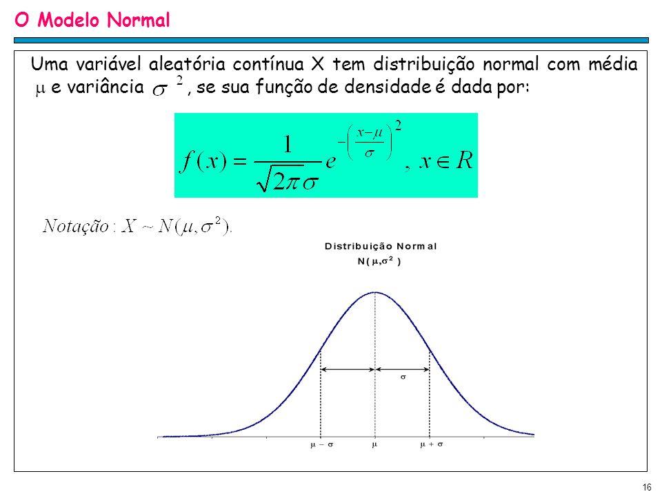 16 O Modelo Normal Uma variável aleatória contínua X tem distribuição normal com média e variância, se sua função de densidade é dada por: