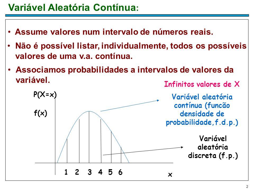 2 Variável Aleatória Contínua : Associamos probabilidades a intervalos de valores da variável. Assume valores num intervalo de números reais. Não é po
