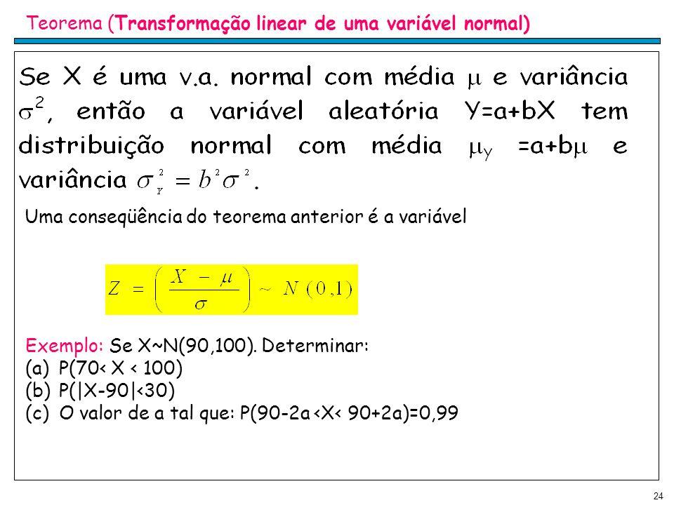 24 Teorema (Transformação linear de uma variável normal) Uma conseqüência do teorema anterior é a variável Exemplo: Se X~N(90,100). Determinar: (a)P(7