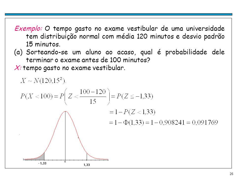 26 Exemplo: O tempo gasto no exame vestibular de uma universidade tem distribuição normal com média 120 minutos e desvio padrão 15 minutos. (a)Sortean