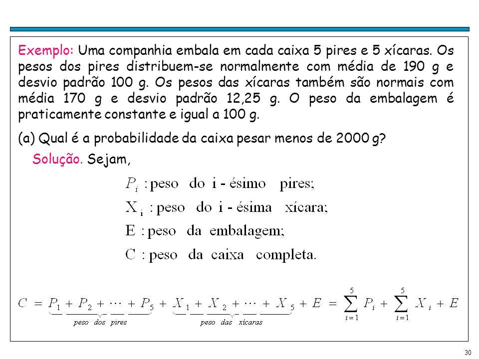 30 Exemplo: Uma companhia embala em cada caixa 5 pires e 5 xícaras. Os pesos dos pires distribuem-se normalmente com média de 190 g e desvio padrão 10