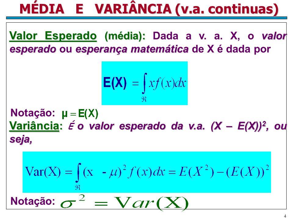 4 MÉDIA E VARIÂNCIA (v.a. continuas) Valor Esperado (média):valor esperadoesperança matemática Valor Esperado (média): Dada a v. a. X, o valor esperad