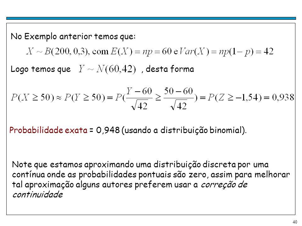 40 Logo temos que, desta forma No Exemplo anterior temos que: Probabilidade exata = 0,948 (usando a distribuição binomial). Note que estamos aproximan