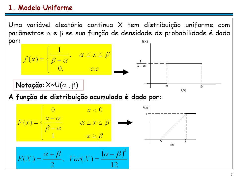 7 1. Modelo Uniforme Uma variável aleatória contínua X tem distribuição uniforme com parâmetros e se sua função de densidade de probabilidade é dada p