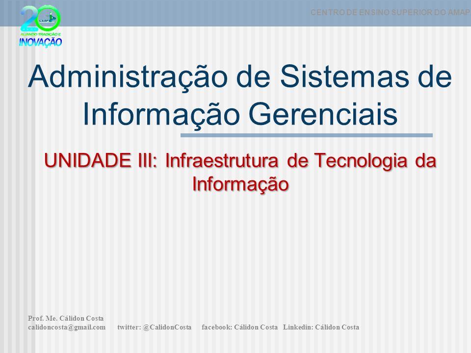 UNIDADE III: Infraestrutura de Tecnologia da Informação Administração de Sistemas de Informação Gerenciais UNIDADE III: Infraestrutura de Tecnologia da Informação CENTRO DE ENSINO SUPERIOR DO AMAPÁ Prof.