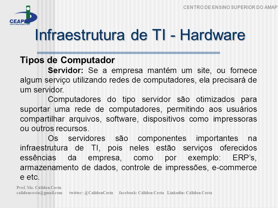 Infraestrutura de TI - Hardware CENTRO DE ENSINO SUPERIOR DO AMAPÁ Tipos de Computador Servidor: Se a empresa mantém um site, ou fornece algum serviço utilizando redes de computadores, ela precisará de um servidor.