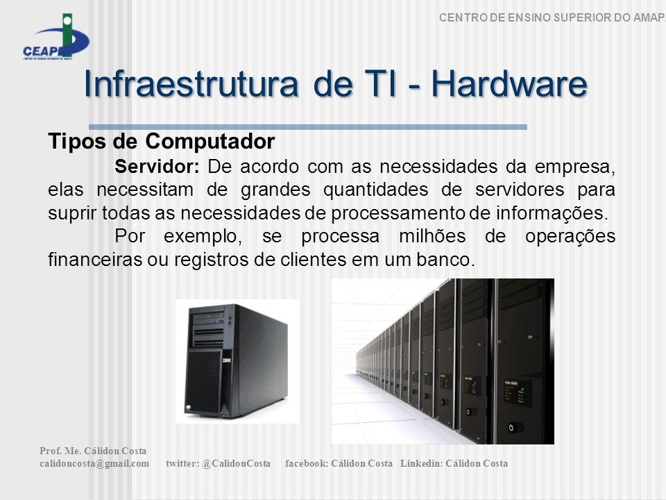 Infraestrutura de TI - Hardware CENTRO DE ENSINO SUPERIOR DO AMAPÁ Tipos de Computador Servidor: De acordo com as necessidades da empresa, elas necessitam de grandes quantidades de servidores para suprir todas as necessidades de processamento de informações.