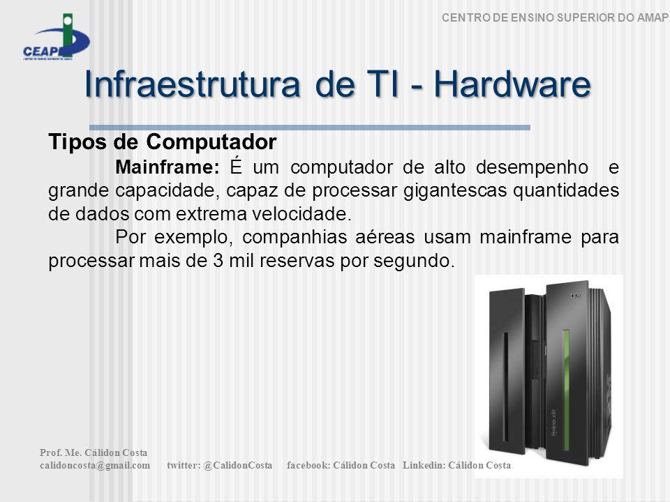 Infraestrutura de TI - Hardware CENTRO DE ENSINO SUPERIOR DO AMAPÁ Tipos de Computador Mainframe: É um computador de alto desempenho e grande capacidade, capaz de processar gigantescas quantidades de dados com extrema velocidade.